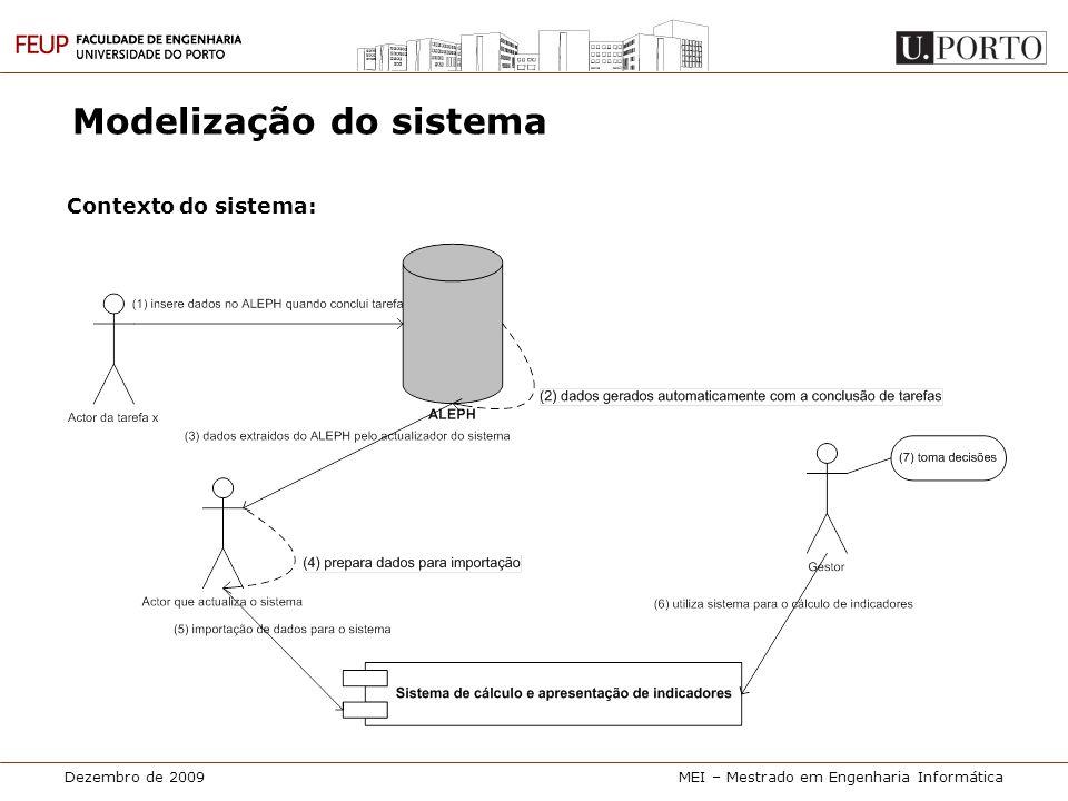 Dezembro de 2009MEI – Mestrado em Engenharia Informática Modelização do sistema Contexto do sistema: