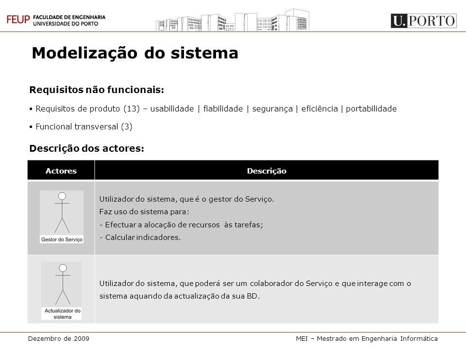 Dezembro de 2009MEI – Mestrado em Engenharia Informática Modelização do sistema Requisitos não funcionais:  Requisitos de produto (13) – usabilidade