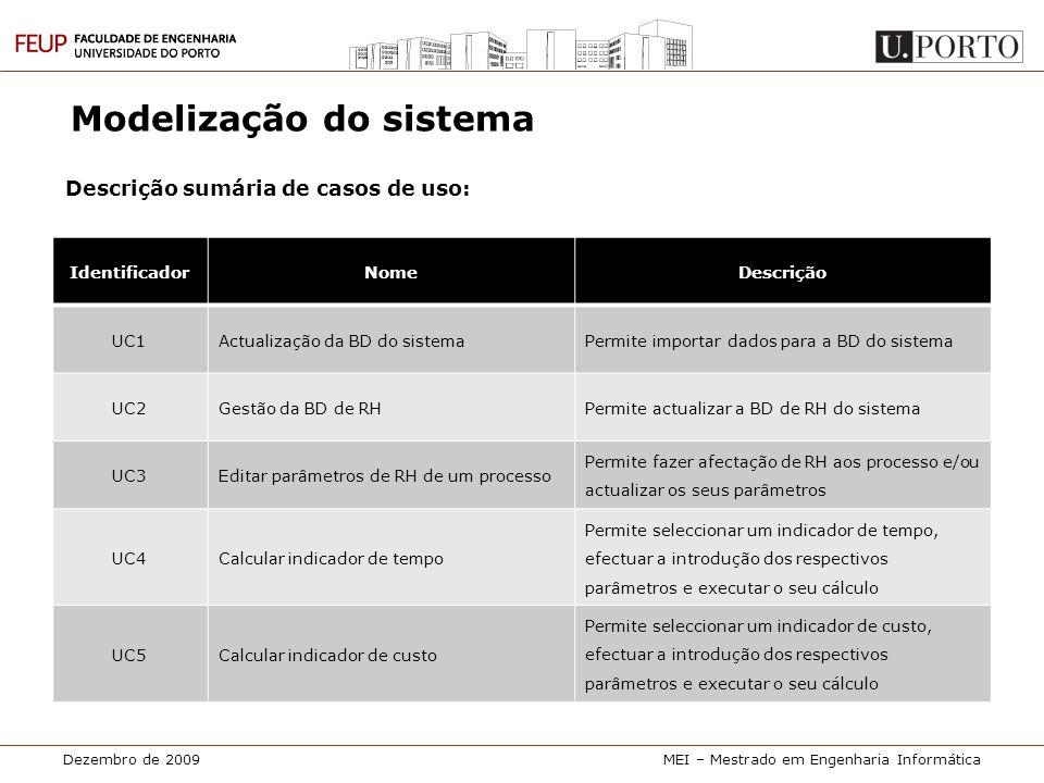 Dezembro de 2009MEI – Mestrado em Engenharia Informática Modelização do sistema Descrição sumária de casos de uso: IdentificadorNomeDescrição UC1Actua