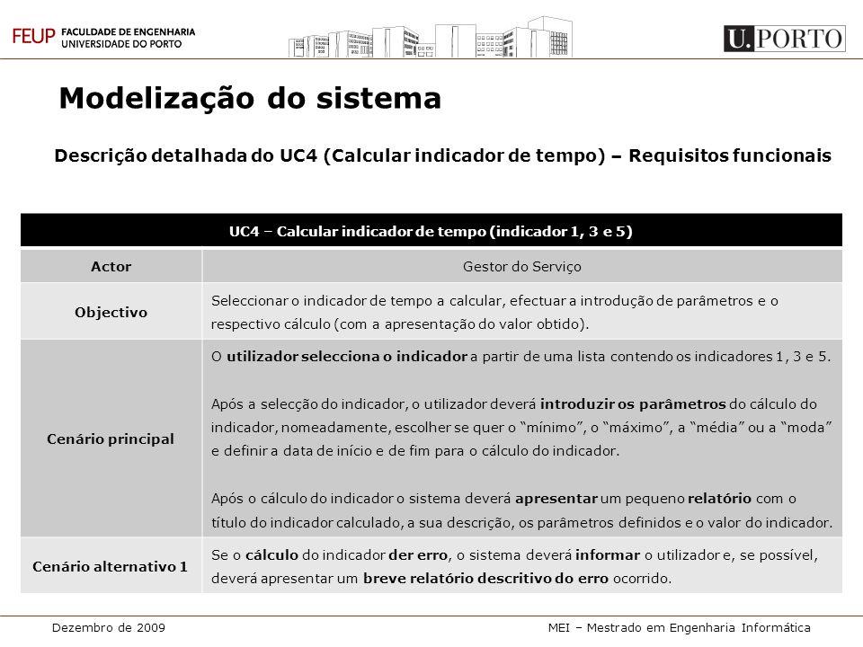 Dezembro de 2009MEI – Mestrado em Engenharia Informática Modelização do sistema Descrição detalhada do UC4 (Calcular indicador de tempo) – Requisitos