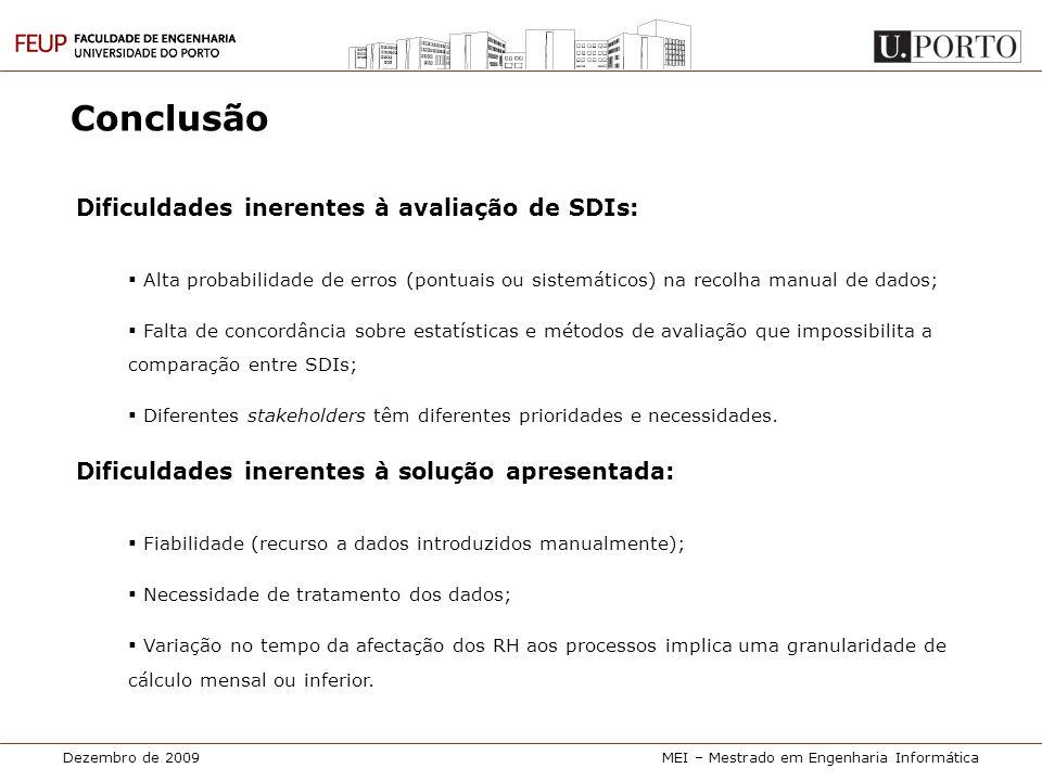 Dezembro de 2009MEI – Mestrado em Engenharia Informática Conclusão Dificuldades inerentes à avaliação de SDIs:  Alta probabilidade de erros (pontuais