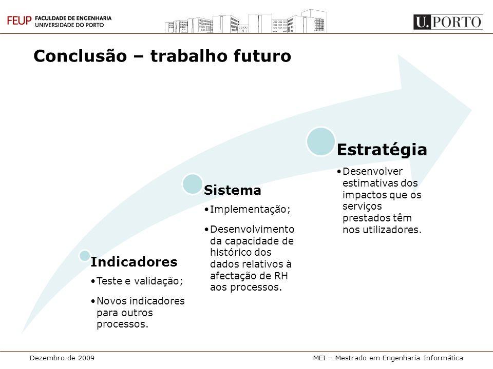 Dezembro de 2009MEI – Mestrado em Engenharia Informática Indicadores •Teste e validação; •Novos indicadores para outros processos. Sistema •Implementa