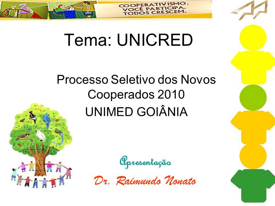 Tema: UNICRED Apresentação Dr. Raimundo Nonato Processo Seletivo dos Novos Cooperados 2010 UNIMED GOIÂNIA