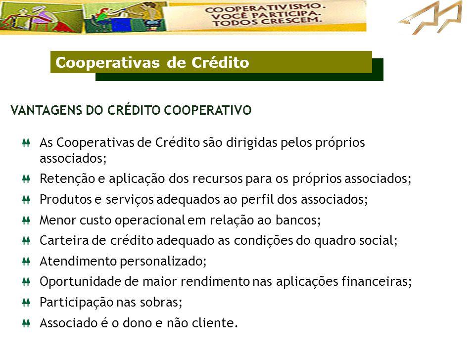 Cooperativas de Crédito As Cooperativas de Crédito são dirigidas pelos próprios associados; Retenção e aplicação dos recursos para os próprios associa