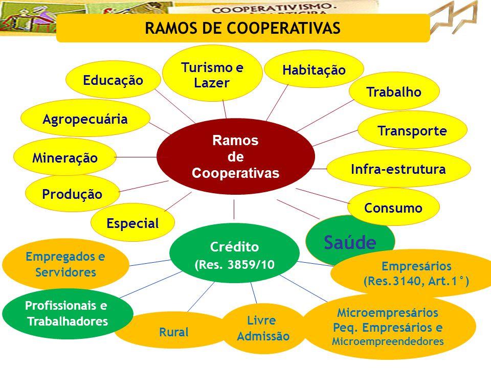 RAMOS DE COOPERATIVAS Ramos de Cooperativas Educação Habitação Trabalho Saúde Produção Consumo Mineração Agropecuária Especial Infra-estrutura Turismo