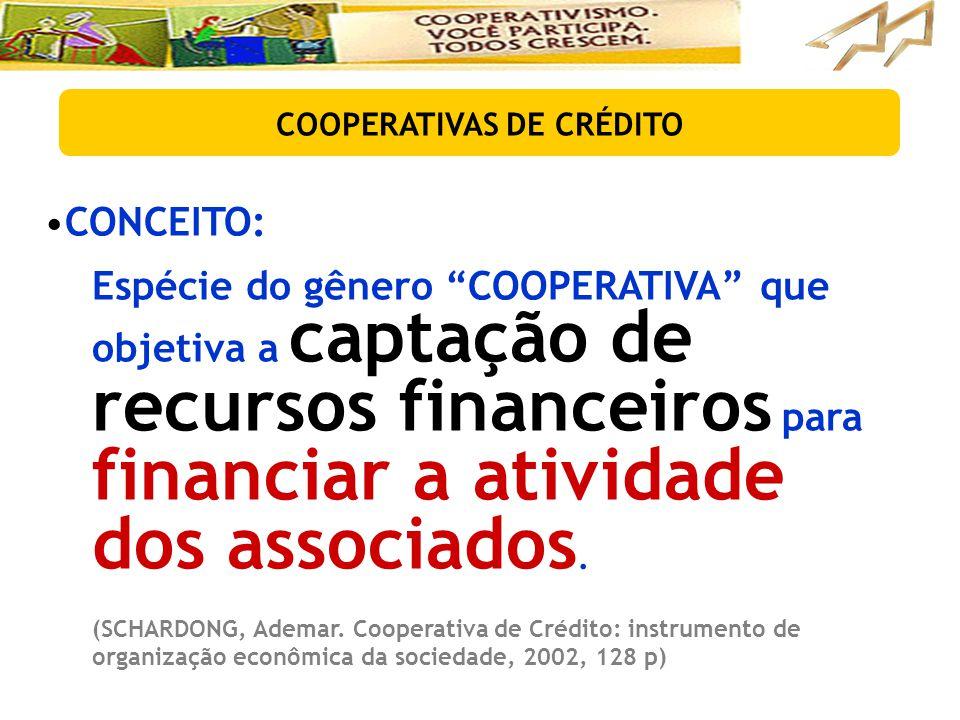"""•CONCEITO: Espécie do gênero """"COOPERATIVA"""" que objetiva a captação de recursos financeiros para financiar a atividade dos associados. (SCHARDONG, Adem"""