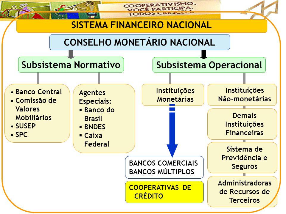 BANCOS COMERCIAIS BANCOS MÚLTIPLOS SISTEMA FINANCEIRO NACIONAL CONSELHO MONETÁRIO NACIONAL Subsistema Normativo Subsistema Operacional •Banco Central