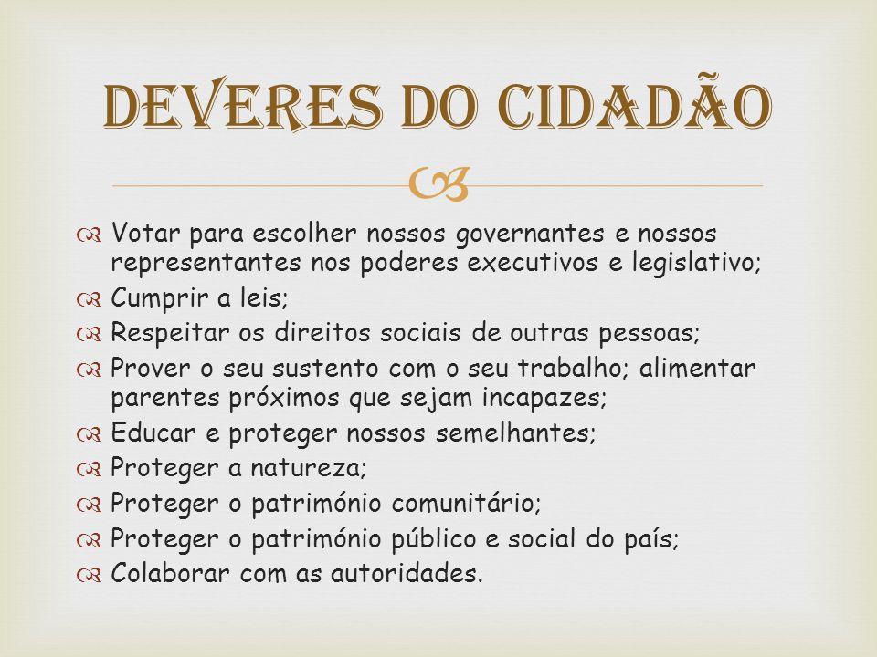   Votar para escolher nossos governantes e nossos representantes nos poderes executivos e legislativo;  Cumprir a leis;  Respeitar os direitos soc