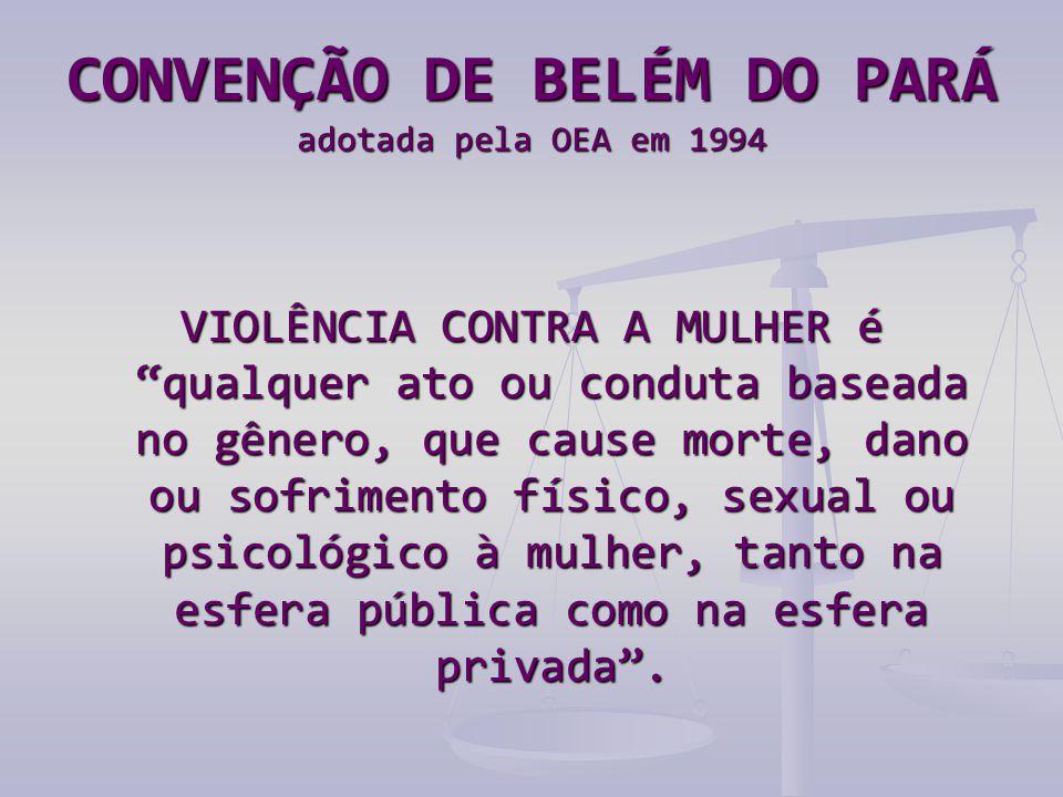 CONVENÇÃO DE BELÉM DO PARÁ adotada pela OEA em 1994 VIOLÊNCIA CONTRA A MULHER é qualquer ato ou conduta baseada no gênero, que cause morte, dano ou sofrimento físico, sexual ou psicológico à mulher, tanto na esfera pública como na esfera privada .