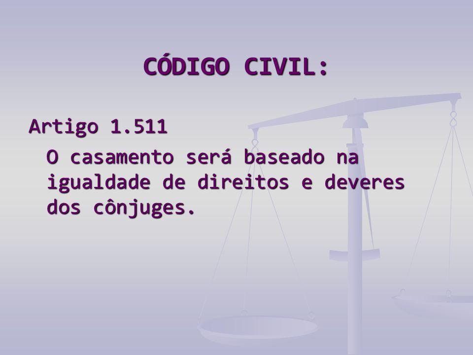 CÓDIGO CIVIL: Artigo 1.511 O casamento será baseado na igualdade de direitos e deveres dos cônjuges.