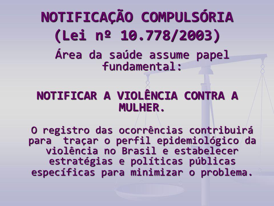 NOTIFICAÇÃO COMPULSÓRIA (Lei nº 10.778/2003) Área da saúde assume papel fundamental: NOTIFICAR A VIOLÊNCIA CONTRA A MULHER.