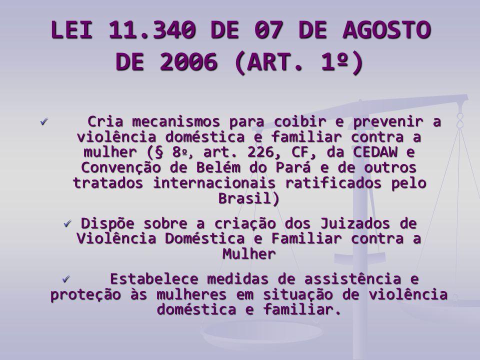 LEI 11.340 DE 07 DE AGOSTO DE 2006 (ART. 1º)  Cria mecanismos para coibir e prevenir a violência doméstica e familiar contra a mulher (§ 8 º, art. 22