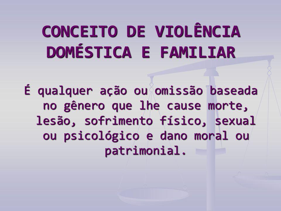 CONCEITO DE VIOLÊNCIA DOMÉSTICA E FAMILIAR É qualquer ação ou omissão baseada no gênero que lhe cause morte, lesão, sofrimento físico, sexual ou psicológico e dano moral ou patrimonial.