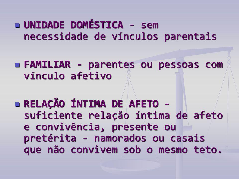  UNIDADE DOMÉSTICA - sem necessidade de vínculos parentais  FAMILIAR - parentes ou pessoas com vínculo afetivo  RELAÇÃO ÍNTIMA DE AFETO - suficient