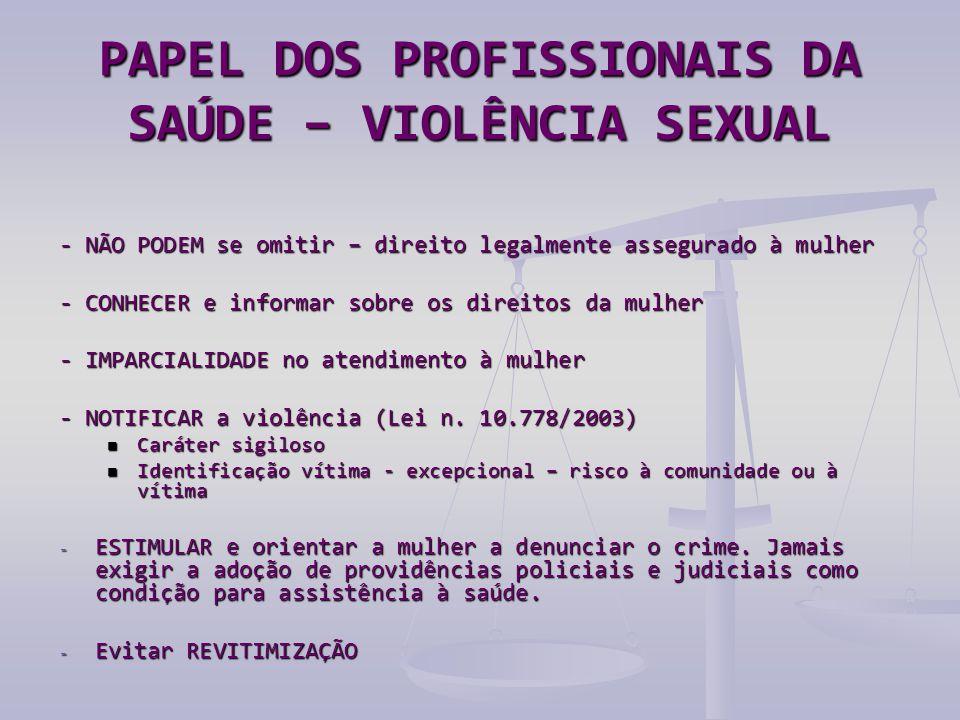 PAPEL DOS PROFISSIONAIS DA SAÚDE – VIOLÊNCIA SEXUAL - NÃO PODEM se omitir – direito legalmente assegurado à mulher - CONHECER e informar sobre os direitos da mulher - IMPARCIALIDADE no atendimento à mulher - NOTIFICAR a violência (Lei n.