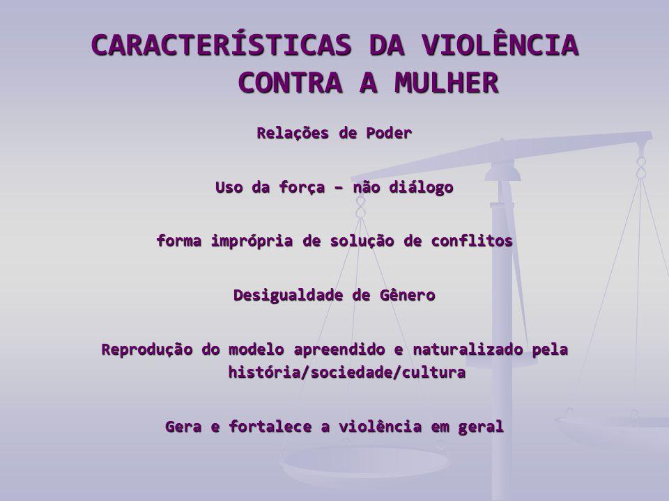 CARACTERÍSTICAS DA VIOLÊNCIA CONTRA A MULHER Relações de Poder Uso da força – não diálogo forma imprópria de solução de conflitos Desigualdade de Gêne