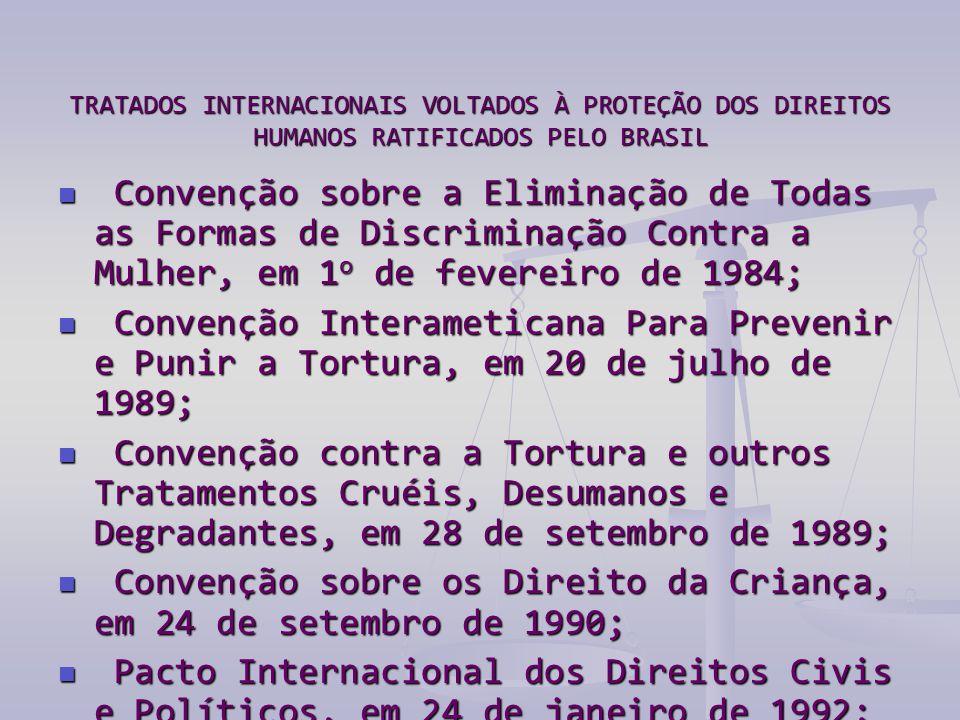 TRATADOS INTERNACIONAIS VOLTADOS À PROTEÇÃO DOS DIREITOS HUMANOS RATIFICADOS PELO BRASIL  Convenção sobre a Eliminação de Todas as Formas de Discriminação Contra a Mulher, em 1 o de fevereiro de 1984;  Convenção Interameticana Para Prevenir e Punir a Tortura, em 20 de julho de 1989;  Convenção contra a Tortura e outros Tratamentos Cruéis, Desumanos e Degradantes, em 28 de setembro de 1989;  Convenção sobre os Direito da Criança, em 24 de setembro de 1990;  Pacto Internacional dos Direitos Civis e Políticos, em 24 de janeiro de 1992;  Convenção Americana de Direitos Humanos, em 24 de setembro de 1992;