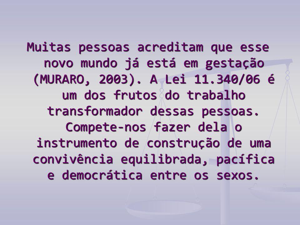 Muitas pessoas acreditam que esse novo mundo já está em gestação (MURARO, 2003). A Lei 11.340/06 é um dos frutos do trabalho transformador dessas pess