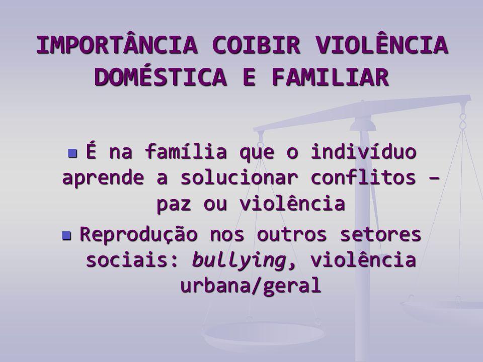 IMPORTÂNCIA COIBIR VIOLÊNCIA DOMÉSTICA E FAMILIAR  É na família que o indivíduo aprende a solucionar conflitos – paz ou violência  Reprodução nos outros setores sociais: bullying, violência urbana/geral