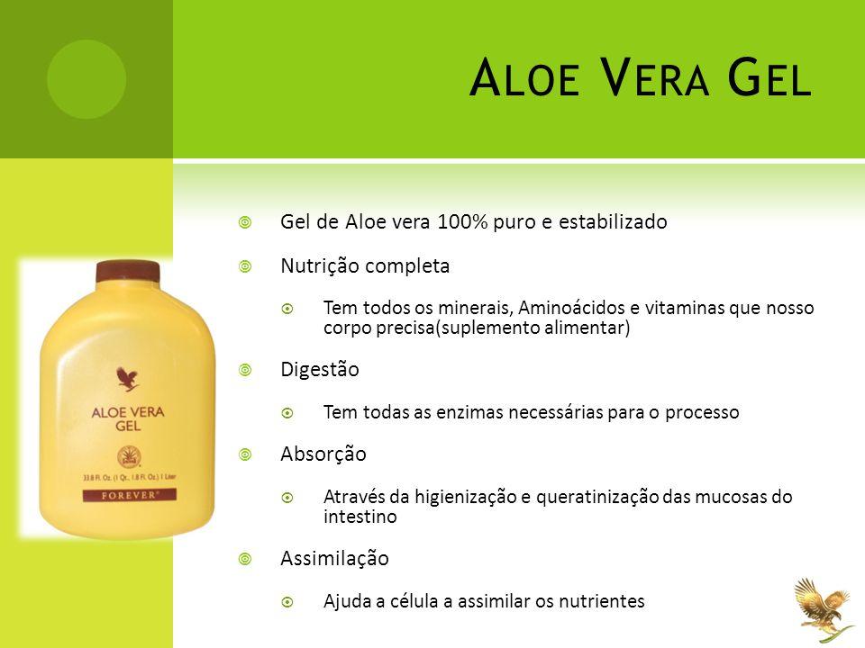 A LOE V ERA G EL  Gel de Aloe vera 100% puro e estabilizado  Nutrição completa  Tem todos os minerais, Aminoácidos e vitaminas que nosso corpo prec