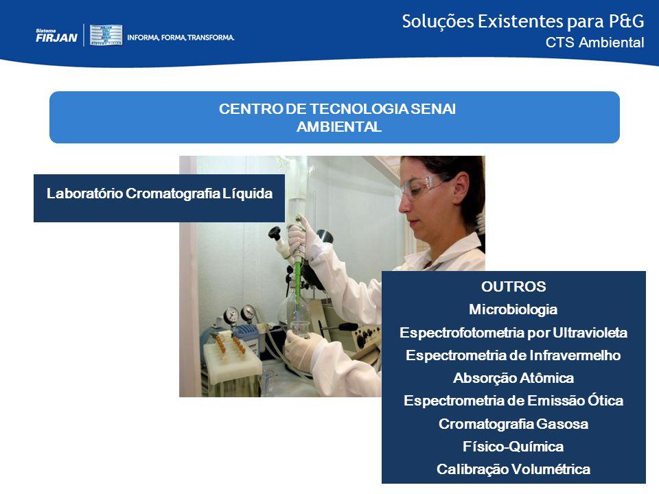 Soluções Existentes para P&G CTS Ambiental Laboratório Cromatografia Líquida OUTROS Microbiologia Espectrofotometria por Ultravioleta Espectrometria d