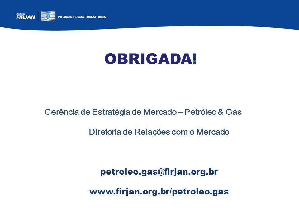 OBRIGADA! Gerência de Estratégia de Mercado – Petróleo & Gás Diretoria de Relações com o Mercado petroleo.gas@firjan.org.br www.firjan.org.br/petroleo