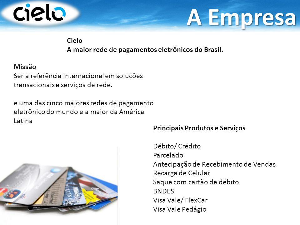 Cielo A maior rede de pagamentos eletrônicos do Brasil. Missão Ser a referência internacional em soluções transacionais e serviços de rede. é uma das