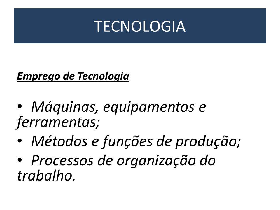 Emprego de Tecnologia • Máquinas, equipamentos e ferramentas; • Métodos e funções de produção; • Processos de organização do trabalho. TECNOLOGIA