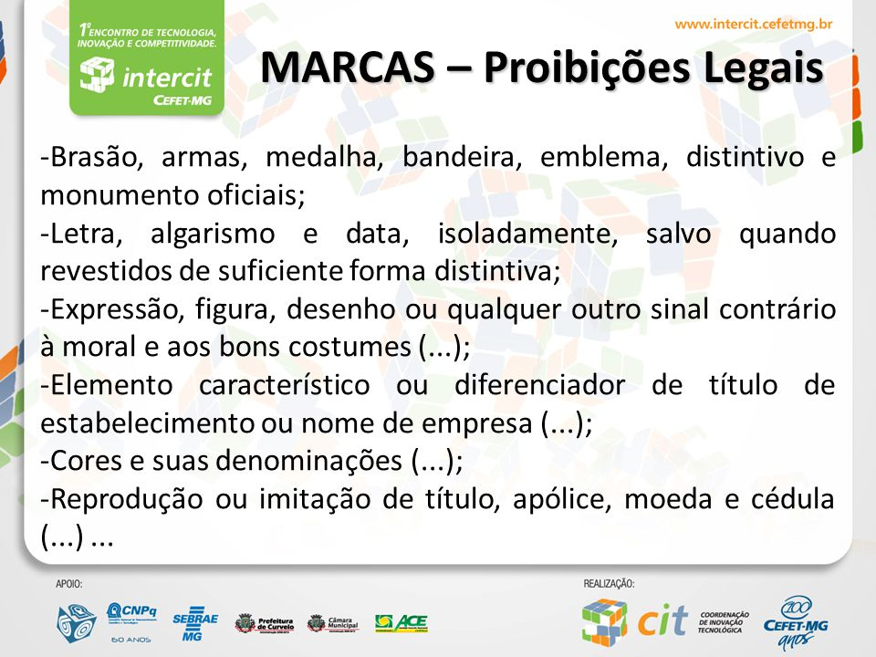 Marcas de certificação MARCAS – Natureza Marcas de produto ou serviço Marcas Coletivas