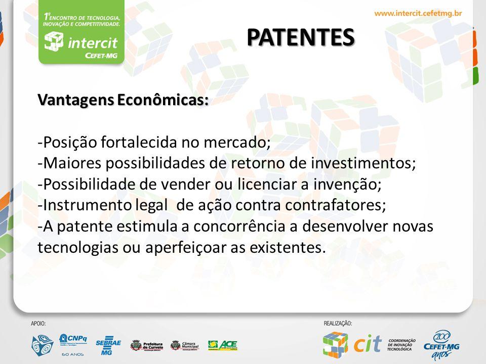PATENTES – Tipos e Vigência Patente de Invenção – PI: Patente de Invenção – PI: Concepção resultante de criação humana, que representa a solução de um problema técnico específico, dentro de um campo tecnológico.
