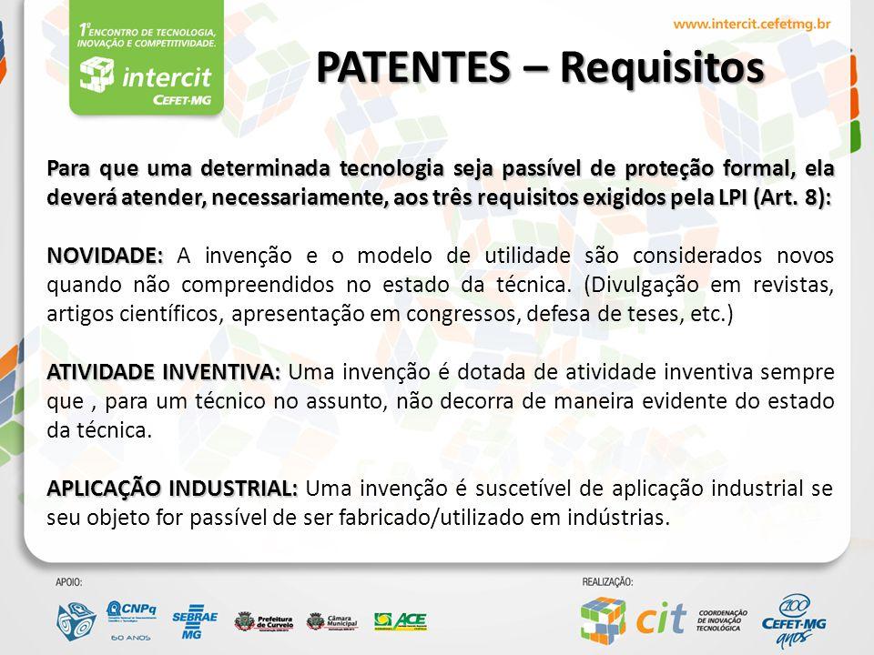 PATENTES – Anterioridade Bases de patentes: -INPI -ESPACENET -USPTO -DERWENT INOVATION INDEX – DII -GOOGLE -LATTES -SLIDES E DEMAIS FONTES NÃO OFICIAIS
