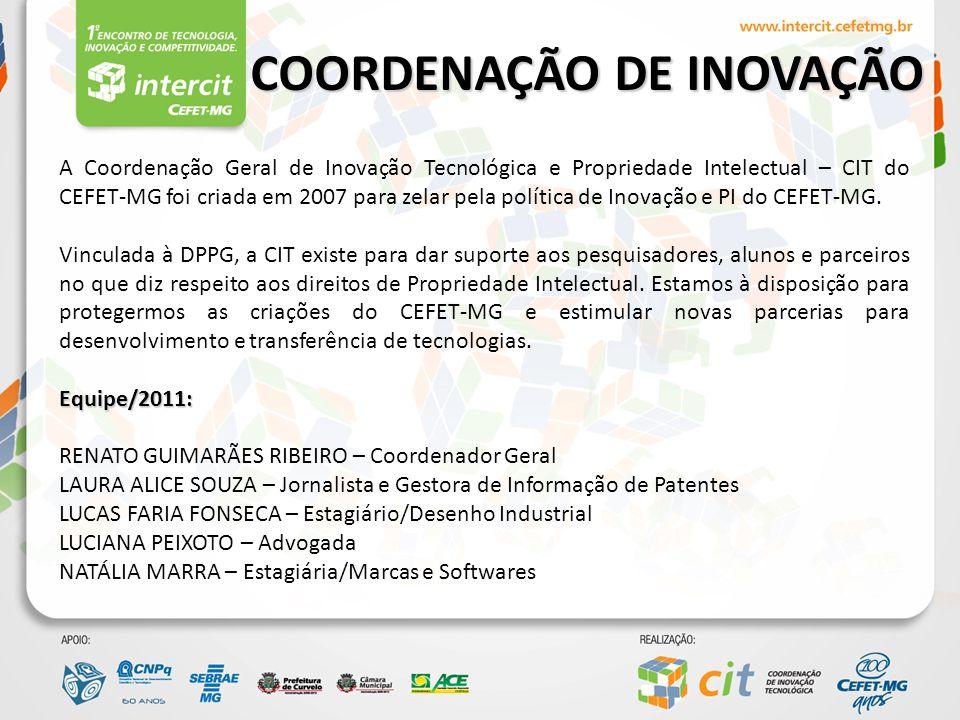 I INTERCIT O I Intercit é uma iniciativa da Coordenação de Inovação Tecnológica e sua realização se deu mediante submissão de um projeto no âmbito do Programa Nacional de Sensibilização e Mobilização para a Inovação do CNP'q.