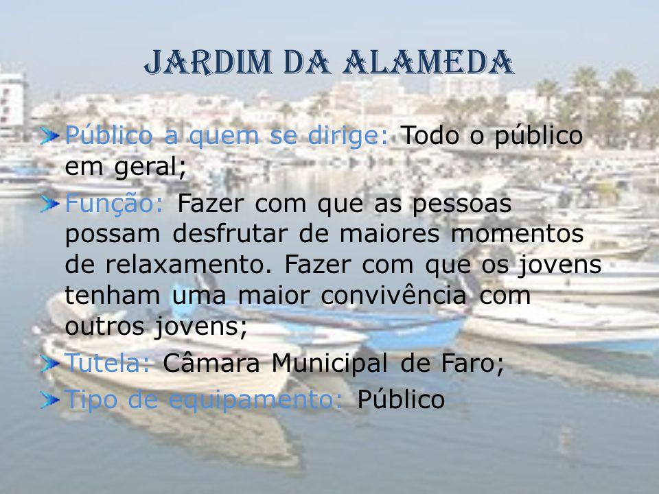 Jardim da Alameda Público a quem se dirige: Todo o público em geral; Função: Fazer com que as pessoas possam desfrutar de maiores momentos de relaxame