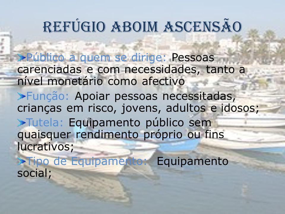 Refúgio Aboim Ascensão Público a quem se dirige: Pessoas carenciadas e com necessidades, tanto a nível monetário como afectivo Função: Apoiar pessoas