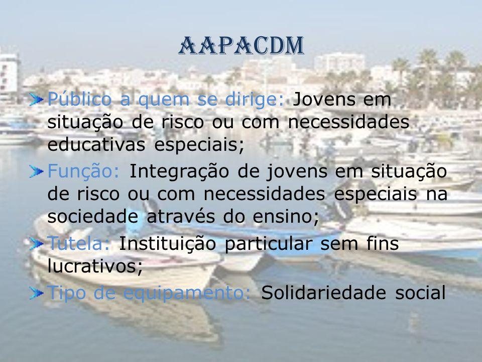 AAPACDM Público a quem se dirige: Jovens em situação de risco ou com necessidades educativas especiais; Função: Integração de jovens em situação de ri