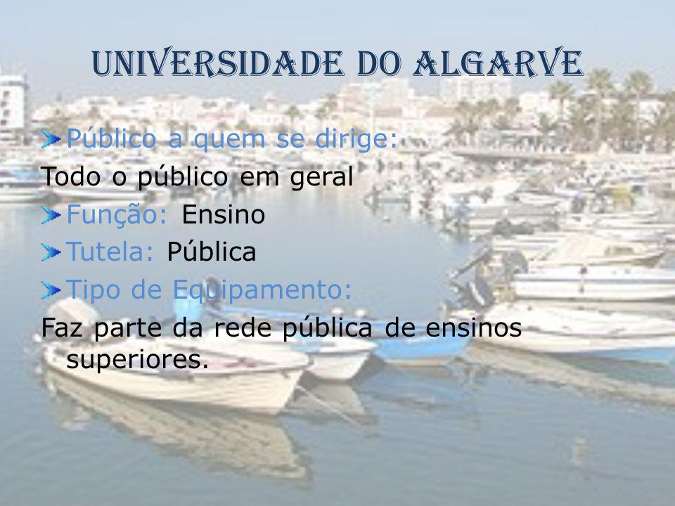 Universidade Do Algarve Público a quem se dirige: Todo o público em geral Função: Ensino Tutela: Pública Tipo de Equipamento: Faz parte da rede públic