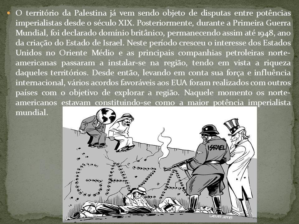  O território da Palestina já vem sendo objeto de disputas entre potências imperialistas desde o século XIX. Posteriormente, durante a Primeira Guerr