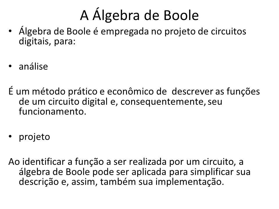 A Álgebra de Boole • Álgebra de Boole é empregada no projeto de circuitos digitais, para: • análise É um método prático e econômico de descrever as fu