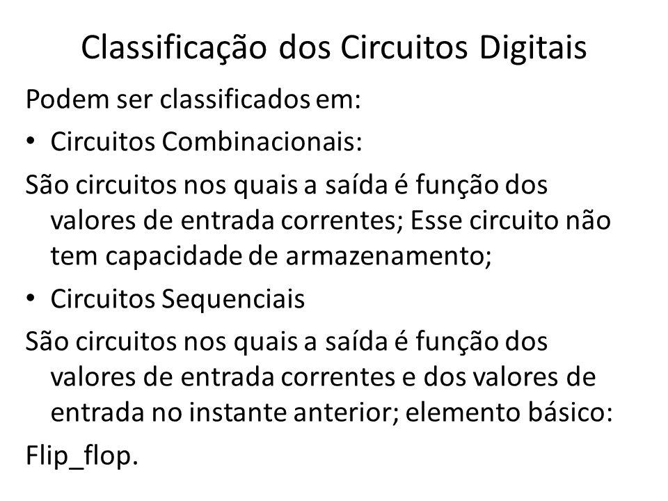 Classificação dos Circuitos Digitais Podem ser classificados em: • Circuitos Combinacionais: São circuitos nos quais a saída é função dos valores de e