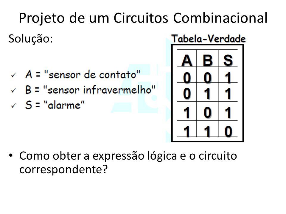 Projeto de um Circuitos Combinacional Solução: • Como obter a expressão lógica e o circuito correspondente?