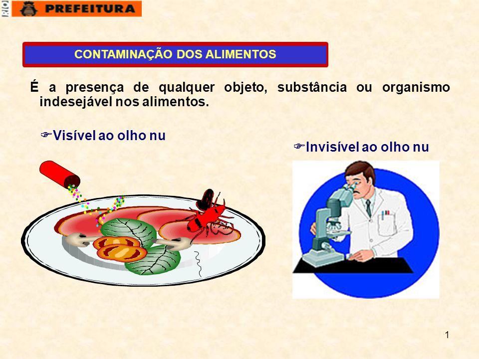 1 CONTAMINAÇÃO DOS ALIMENTOS É a presença de qualquer objeto, substância ou organismo indesejável nos alimentos.  Visível ao olho nu  Invisível ao o