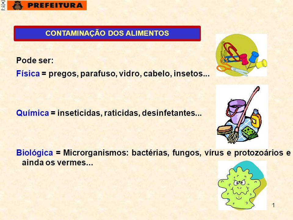 1 CONTAMINAÇÃO DOS ALIMENTOS Pode ser: Física = pregos, parafuso, vidro, cabelo, insetos... Química = inseticidas, raticidas, desinfetantes... Biológi