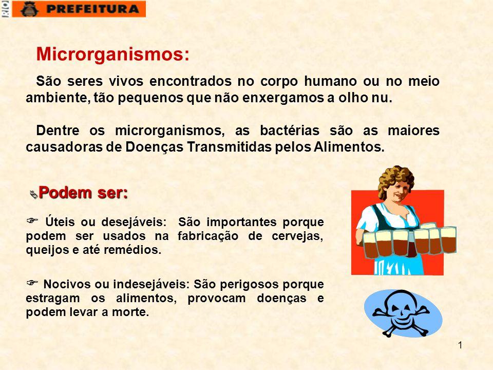 1 Microrganismos: São seres vivos encontrados no corpo humano ou no meio ambiente, tão pequenos que não enxergamos a olho nu. Dentre os microrganismos