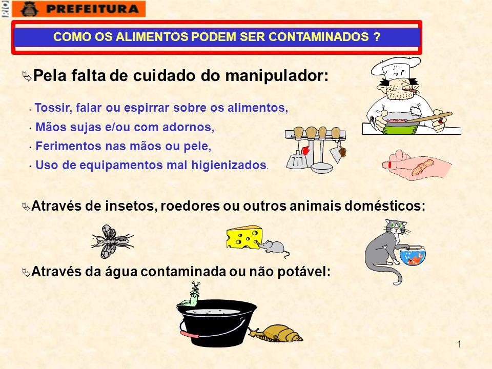 1  Pela falta de cuidado do manipulador: • Tossir, falar ou espirrar sobre os alimentos, • Mãos sujas e/ou com adornos, • Ferimentos nas mãos ou pele