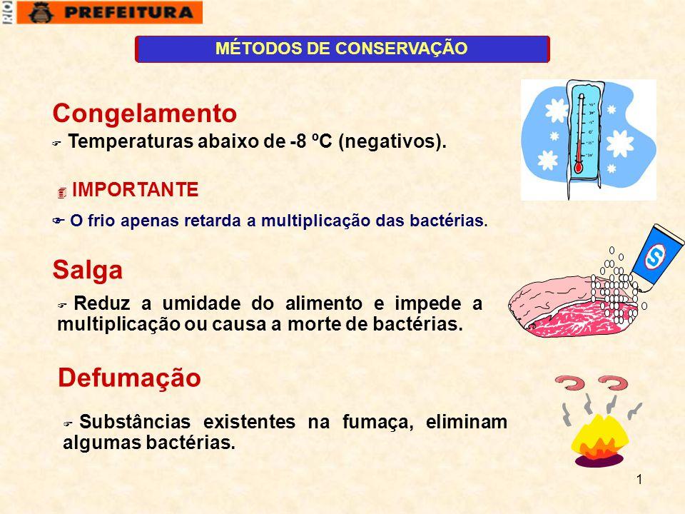 1 MÉTODOS DE CONSERVAÇÃO  IMPORTANTE Congelamento  Temperaturas abaixo de -8 ºC (negativos).  O frio apenas retarda a multiplicação das bactérias.
