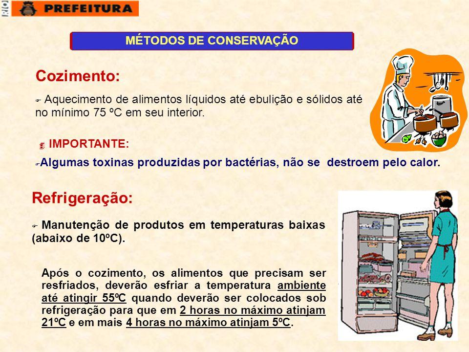 1 MÉTODOS DE CONSERVAÇÃO  Aquecimento de alimentos líquidos até ebulição e sólidos até no mínimo 75 ºC em seu interior. Cozimento:  Algumas toxinas