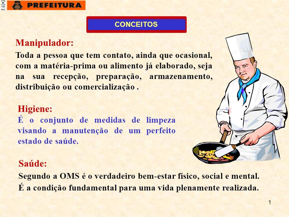 1 Manipulador: Toda a pessoa que tem contato, ainda que ocasional, com a matéria-prima ou alimento já elaborado, seja na sua recepção, preparação, arm