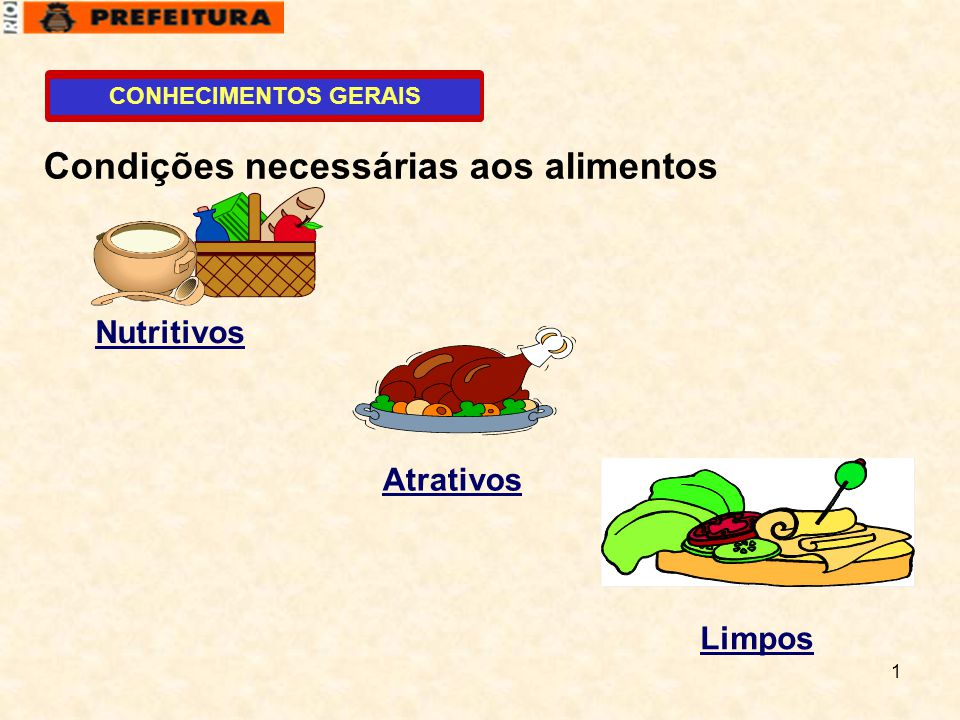 1 CONHECIMENTOS GERAIS Condições necessárias aos alimentos Nutritivos Atrativos Limpos