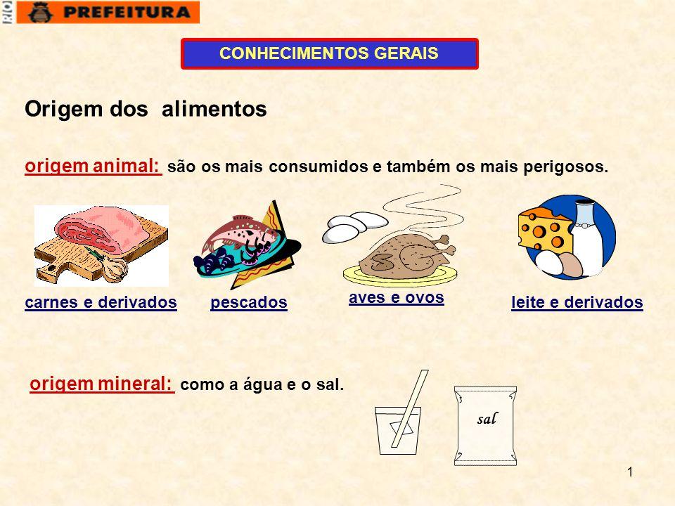 1 CONHECIMENTOS GERAIS origem animal: são os mais consumidos e também os mais perigosos. carnes e derivadospescados aves e ovos leite e derivados orig
