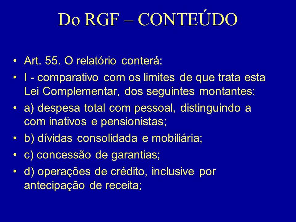 Do RGF – CONTEÚDO •Art. 55. O relatório conterá: •I - comparativo com os limites de que trata esta Lei Complementar, dos seguintes montantes: •a) desp